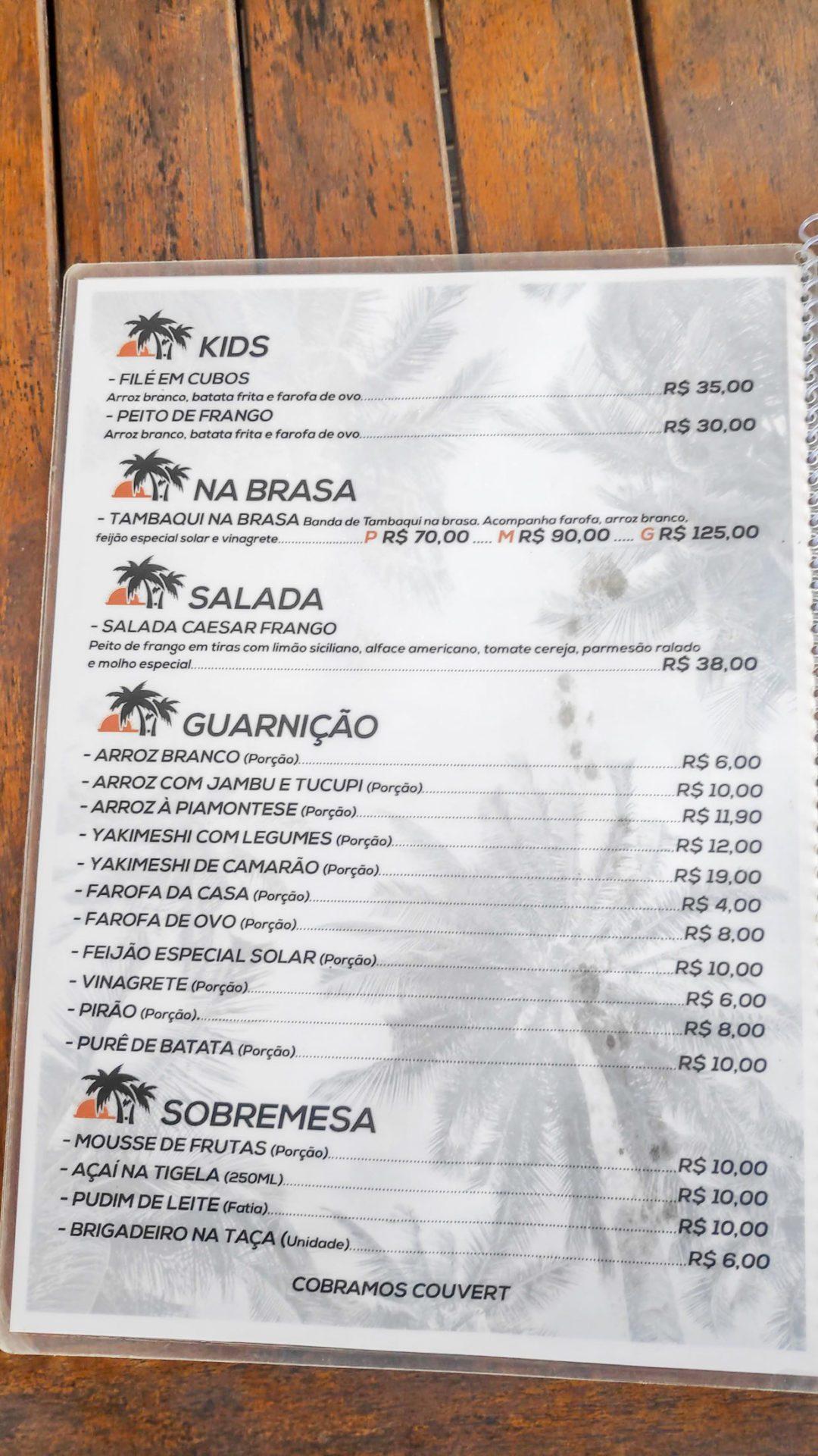 Solar da ilha - Cardápio Junho 2019